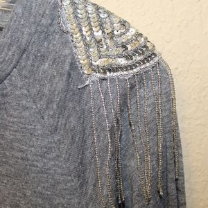 Gray Longsleeve with Cool Fringe Sequin Shoulders